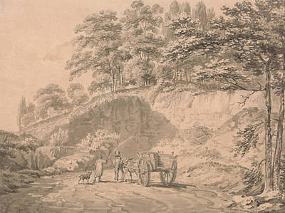 Man With Horse And Cart Entering A Quarry Poster