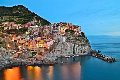 Manarola Aglow Poster by Frozen in Time Fine Art Photography