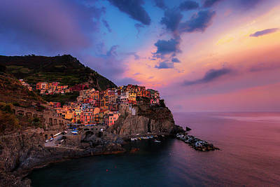Manarola At Dusk Poster by Andrew Soundarajan