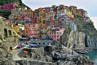 Poster featuring the photograph Manarola Cinque Terre Italy by Frozen in Time Fine Art Photography