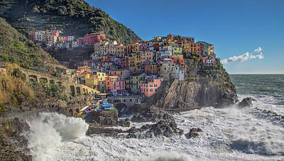 Poster featuring the photograph Manarola In Cinque Terre  by Cheryl Strahl