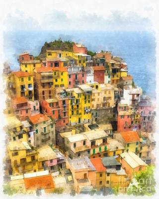 Manarola Italy Cinque Terre Watercolor Poster by Edward Fielding