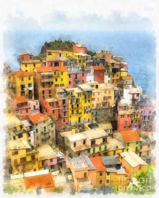 Manarola Italy Cinque Terre Watercolor Poster