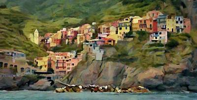 Poster featuring the painting Manarola by Jeff Kolker