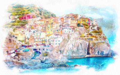 Manarola Watercolor Painting Poster