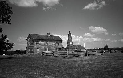 Poster featuring the photograph Manassas Battlefield Farmhouse 2 Bw by Frank Romeo