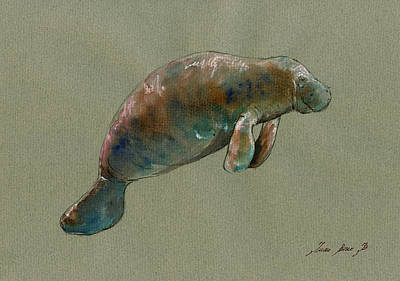 Manatee Watercolor Art Poster by Juan  Bosco