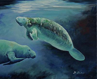 Manatees Underwater Poster