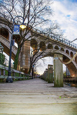 Manayunk - Towpath And Bridge Poster by Bill Cannon
