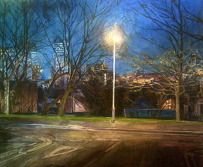 Manchester Street With Light And Trees Poster