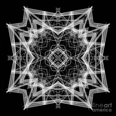 Poster featuring the digital art Mandala 3354b In Black And White by Rafael Salazar