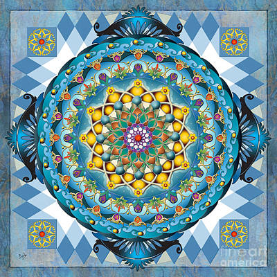 Mandala Blue Crown Poster by Bedros Awak