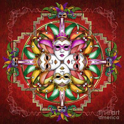 Mandala Festival Masks V2 Poster by Bedros Awak