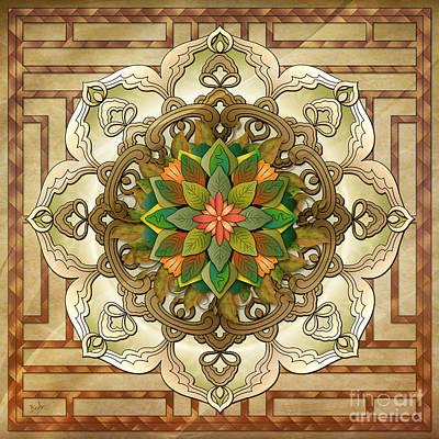 Mandala Leaf Rosette V2 Poster by Bedros Awak