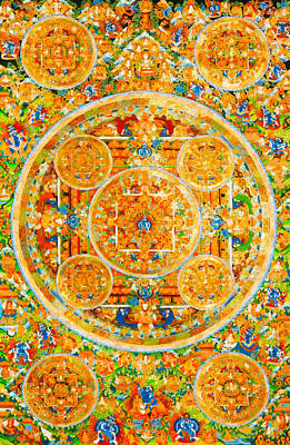 Mandala Of Heruka In Yab Yum And Buddhas 1 Poster by Lanjee Chee