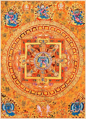 Mandala Of Heruka In Yab Yum Poster by Lanjee Chee