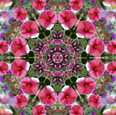 Poster featuring the digital art Mandala Pink Patron by Nancy Griswold