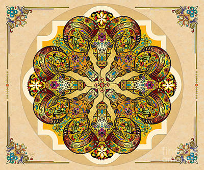 Mandala Sacred Rams - Bright Version Sp Poster by Bedros Awak