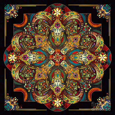 Mandala Sacred Rams - Dark Version Poster by Bedros Awak