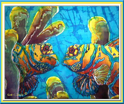 Mandarinfish- Bordered Poster by Sue Duda