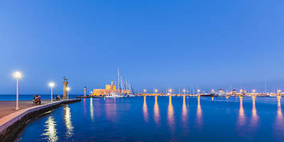 Mandraki Harbour Near Dawn Poster by Werner Dieterich