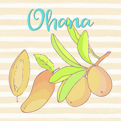 Mango Ohana Tropical Hawaiian Design Of Fruit And Family Poster by Tina Lavoie