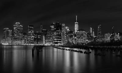Manhattan At Night In Black And White Poster