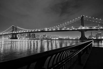 Manhattan Bridge And Williamsburg Bridge Black And White Poster by Toby McGuire
