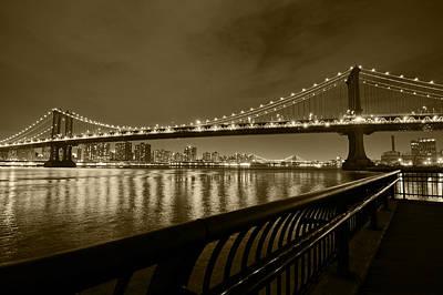 Manhattan Bridge And Williamsburg Bridge Sepia Poster by Toby McGuire