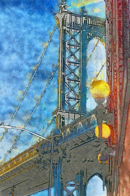 Manhattan Bridge In The Blue Shade, New York Poster by Valentyn Semenov