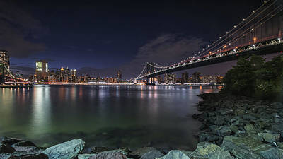 Manhattan Bridge Twinkles At Night Poster