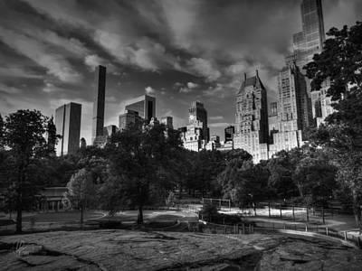 Manhattan - Central Park 001 Bw Poster by Lance Vaughn