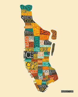 Manhattan Neighborhood Map Typography Poster by Jazzberry Blue