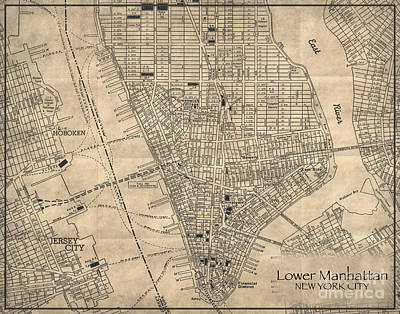 Manhattan New York Antique Vintage City Map Poster by ELITE IMAGE photography By Chad McDermott