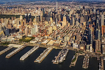 Manhattan New York City Aerial View Poster by Susan Candelario