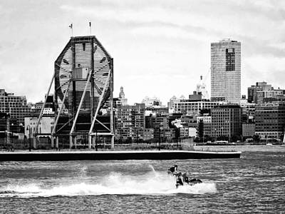 Manhattan Ny - Jet Skiing By Colgate Clock Black And White Poster by Susan Savad