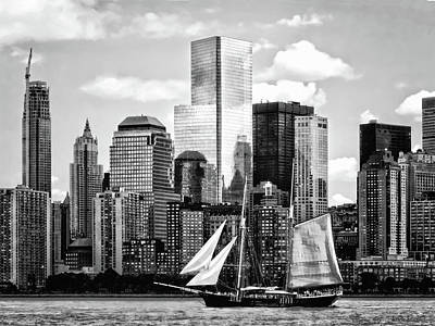 Manhattan Ny - Schooner Seen From Liberty State Park Black And White Poster by Susan Savad