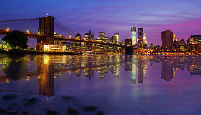 Poster featuring the photograph Manhattan Reflection by Mircea Costina Photography