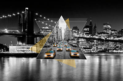Manhattan Skyline And 5th Avenue - Geometric Collage Yellow Poster