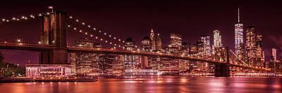 Manhattan Skyline And Brooklyn Bridge Evening Impressions - Panoramic  Poster