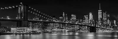 Manhattan Skyline And Brooklyn Bridge Nightly Impressions - Panoramic Poster