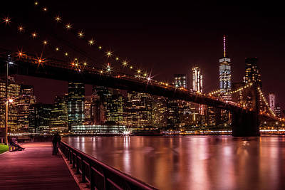 Manhattan Skyline And Brooklyn Bridge Sunset Poster