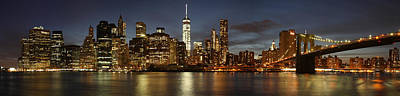 Poster featuring the photograph Manhattan Skyline At Night - Panorama by Nathan Rupert