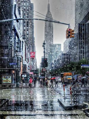Manhattan Street Rain Poster