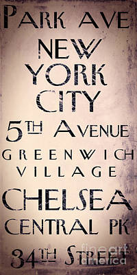 Manhattan Street Sign Poster by Mindy Sommers