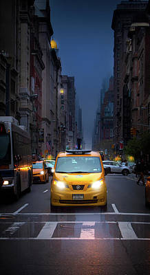 Manhattan Taxi On A Rainy Day Poster