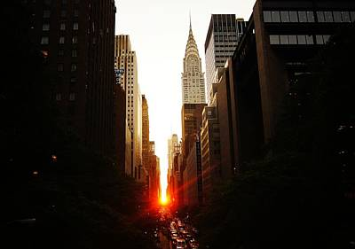 Manhattanhenge Sunset Over The Heart Of New York City Poster by Vivienne Gucwa