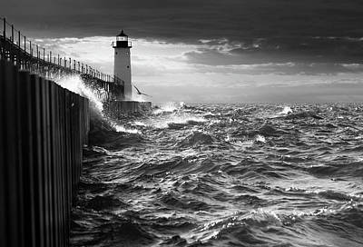 Poster featuring the photograph Manistee Pierhead Lighthouse by Fran Riley