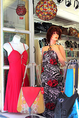 Mannequin With Stripped Flower Dress Poster