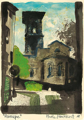 Poster featuring the painting Manosque  Provence Notre Dame De Romigier Print by Martin Stankewitz